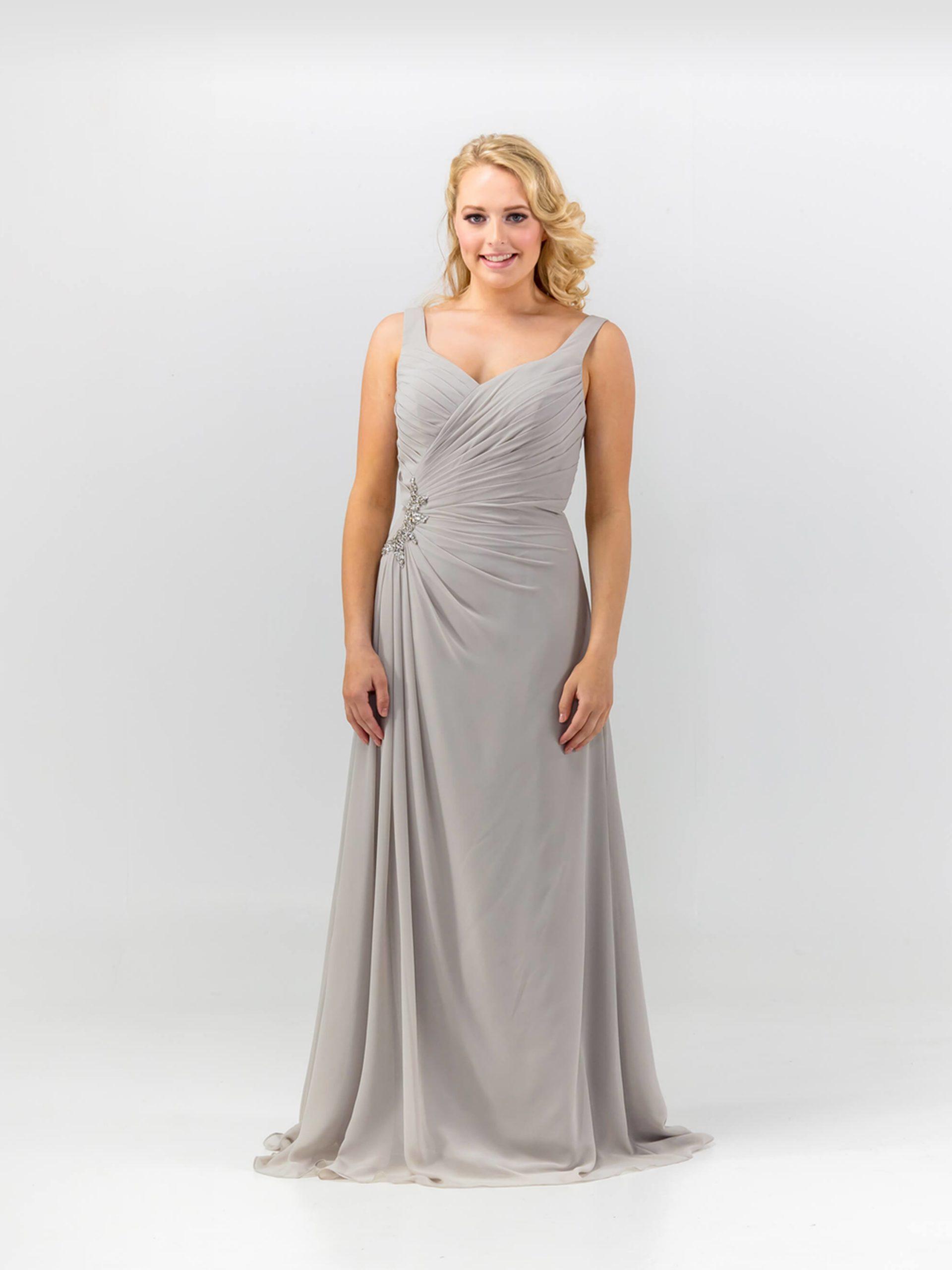 MAB05-silver chiffon bridesmaid dress 1