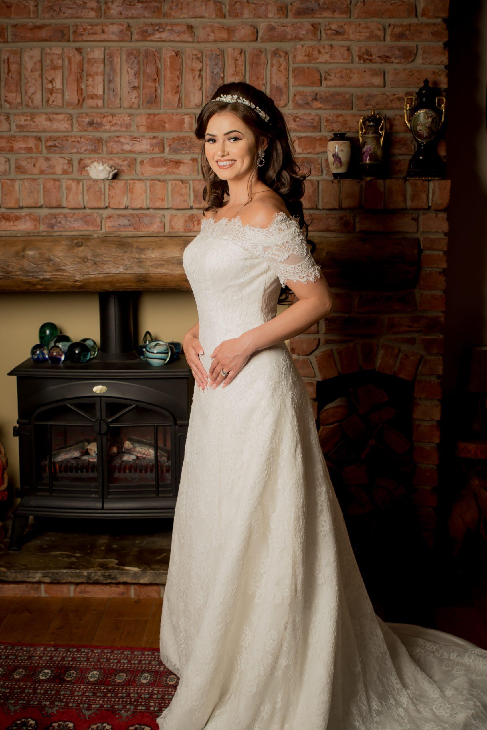 GWD17 Bardot Style A Line Wedding Dress 1