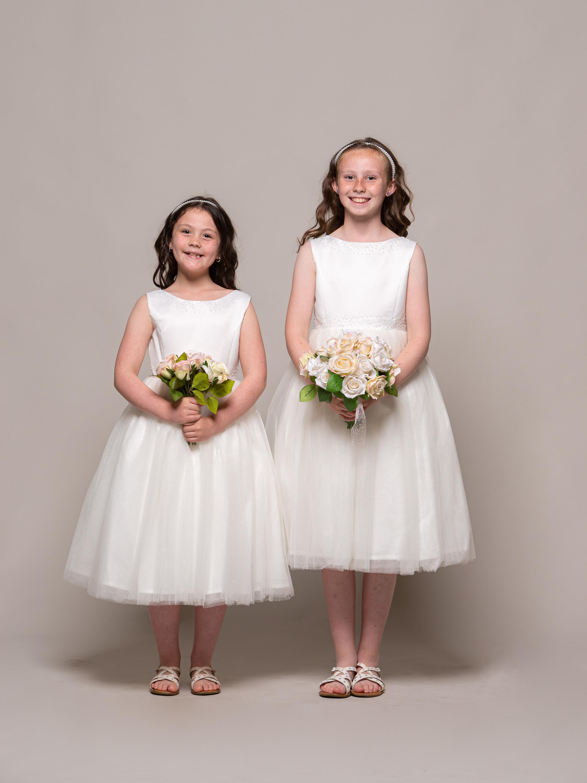 FBF01C01 1 LIGHTLY EMBELLISHED IVORY FLOWER GIRL DRESS