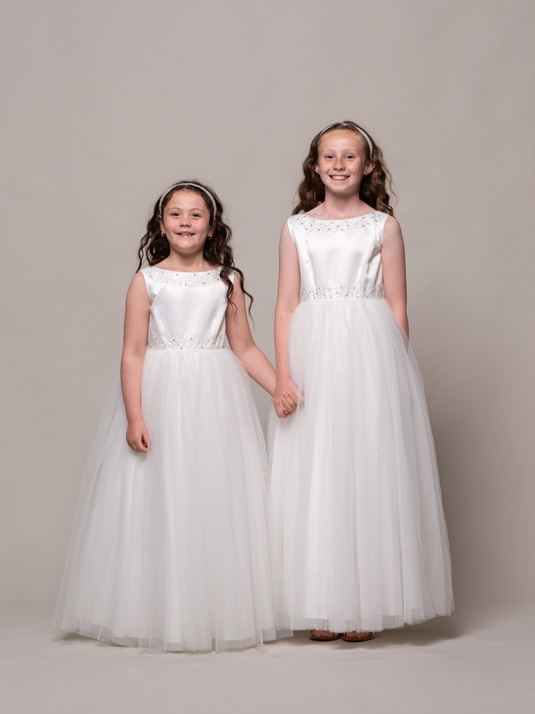 KEL08C01 BEADED IVORY FLOWER GIRL DRESS 1