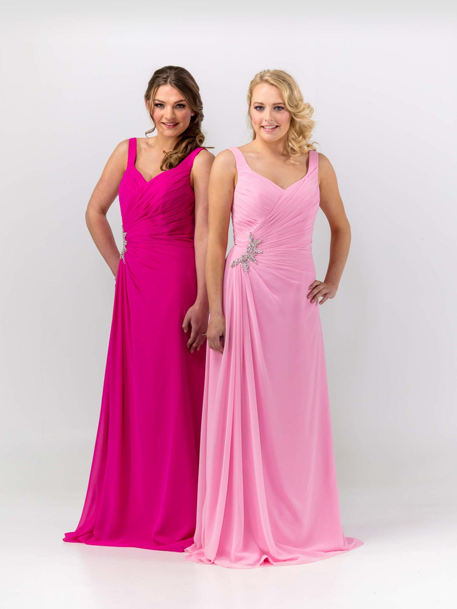 MAB05 Pink chiffon bridesmaid dresses 1