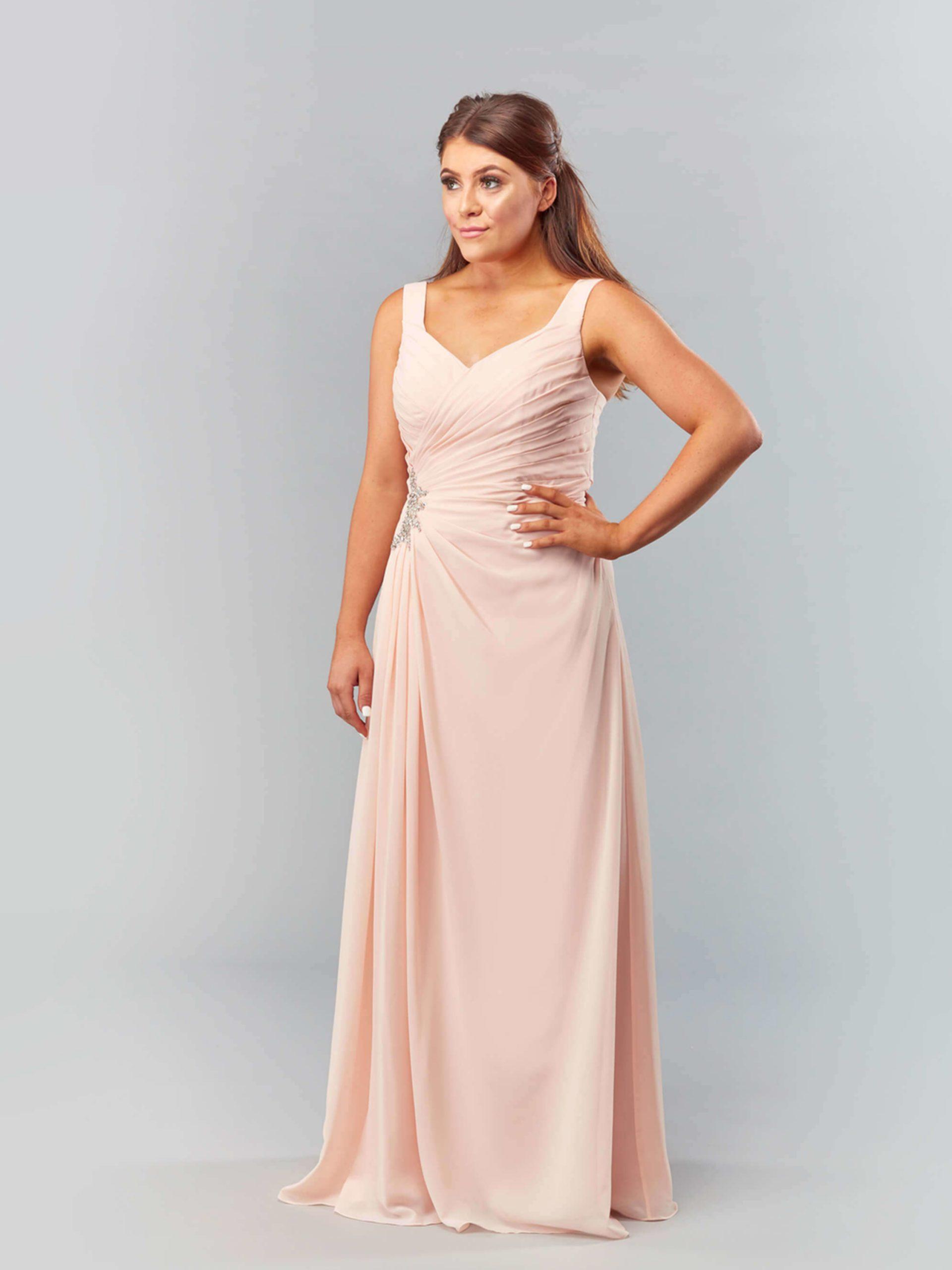 MAB05-blush chiffon bridesmaid dress 1