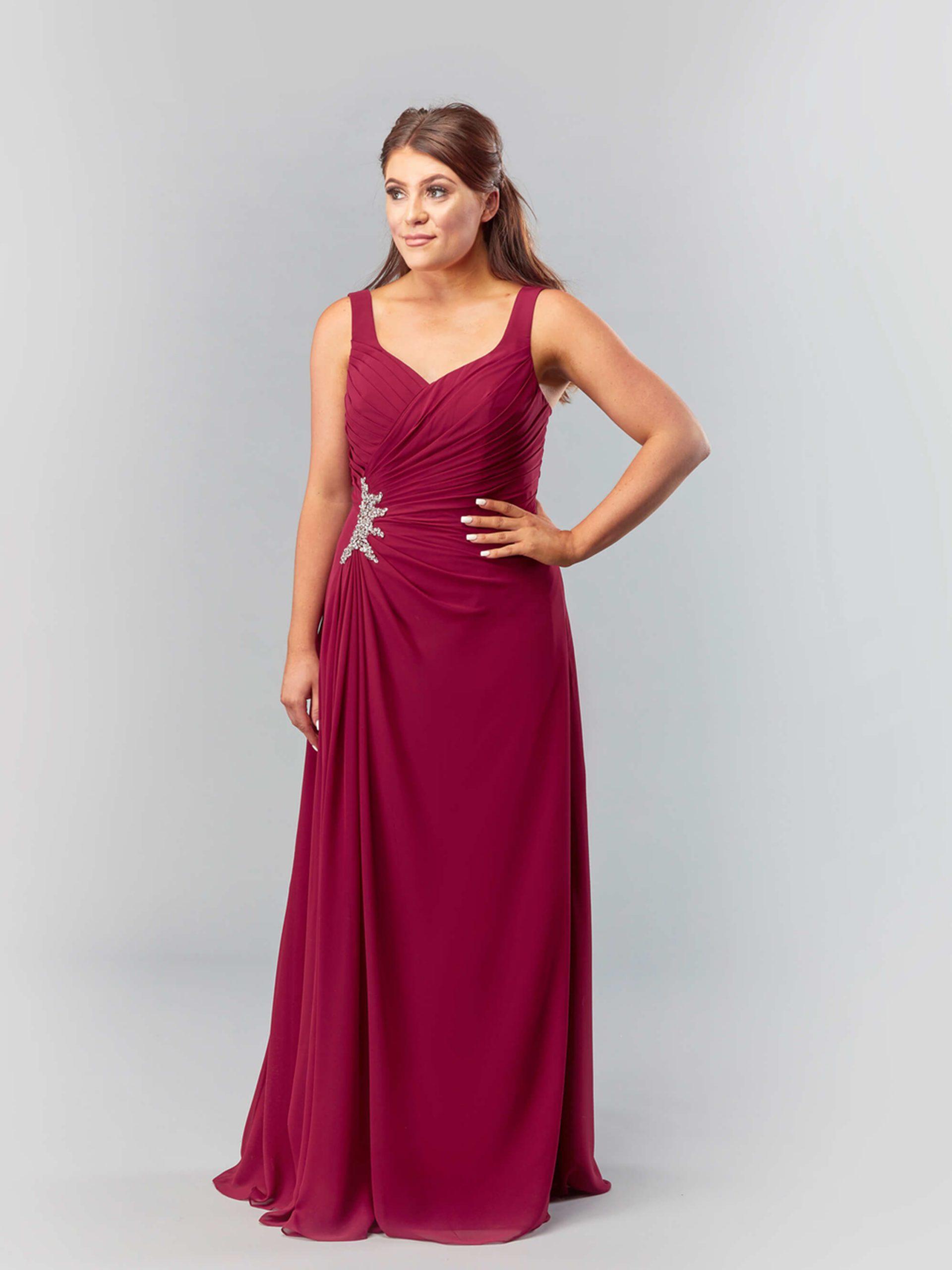 MAB05-burgundy chiffon bridesmaid dress 1
