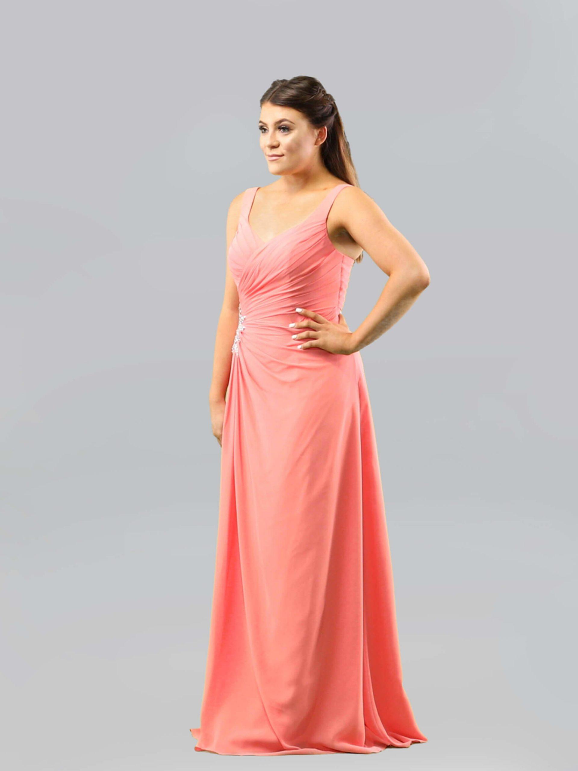 MAB05-coral chiffon bridesmaid dress 1