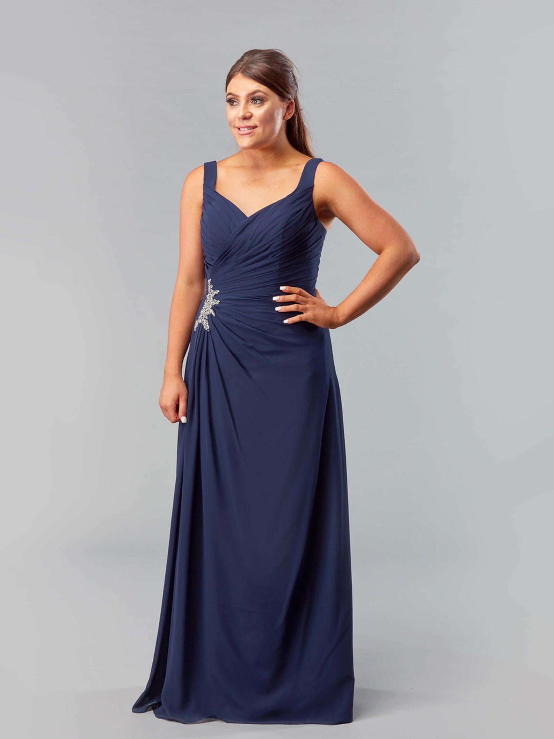 MAB05-navy chiffon bridesmaid dress 1
