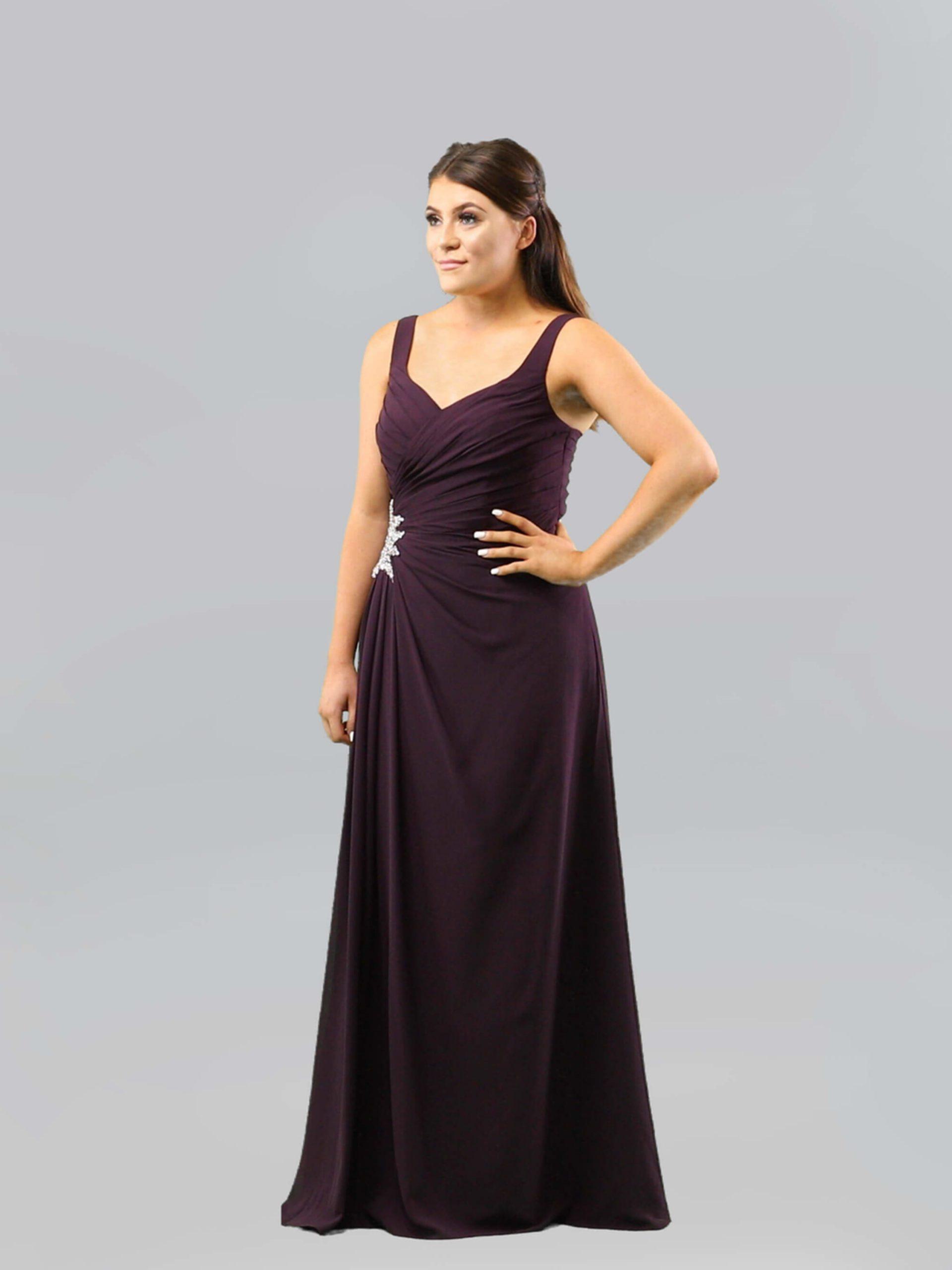 MAB05-plum chiffon bridesmaid dress 1